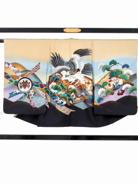 クリーム地に黒の鷹と小槌/七五三・五歳男の子・袴