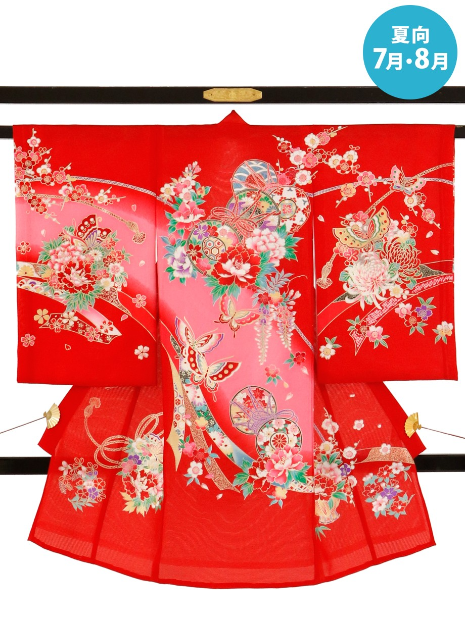 赤地に鼓と蝶の絽の祝い着(産着)/女児*