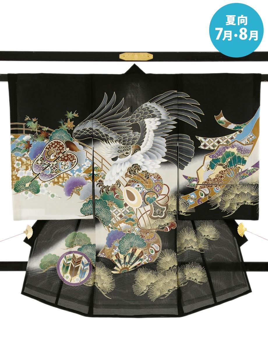 黒地に鷹と橋に松の絽の祝い着(産着)/男児