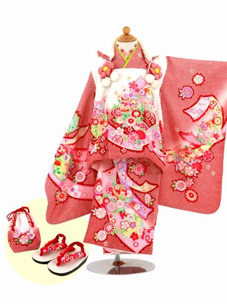 赤地に熨斗と桜の被布コートセット/七五三・三歳女の子