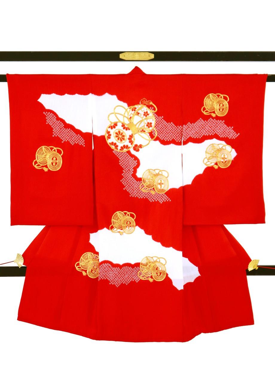 赤地に染疋田、金糸の鼓の祝い着(産着)/女児