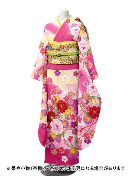 ピンク色に枝垂れ桜の振袖/小さめサイズ