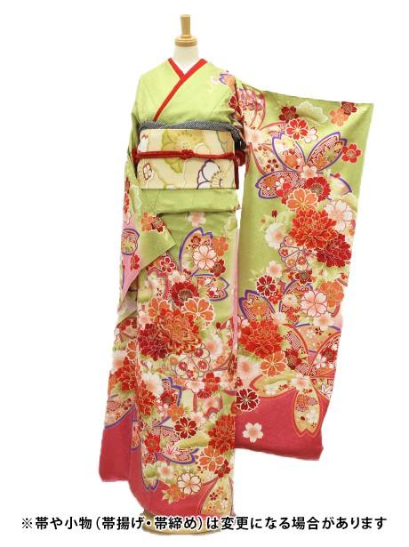 鶸色に数種桜の振袖/小さめサイズ