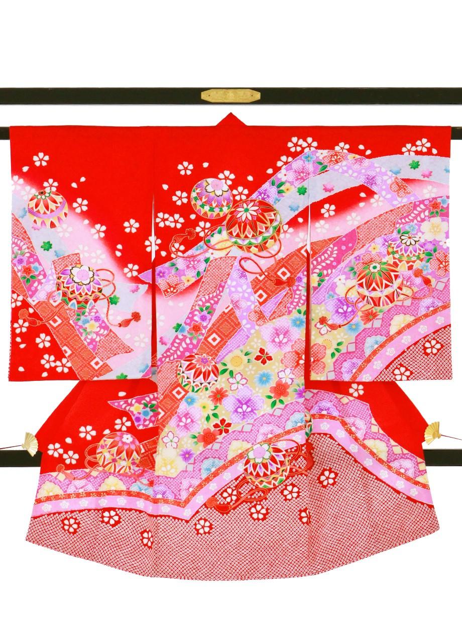 赤地に鞠、花尽くしの祝い着(産着)/女児