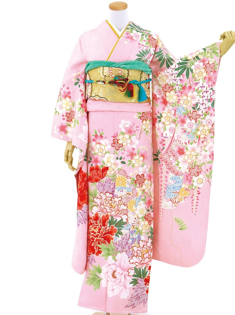 淡桃色に藤と桜の振袖