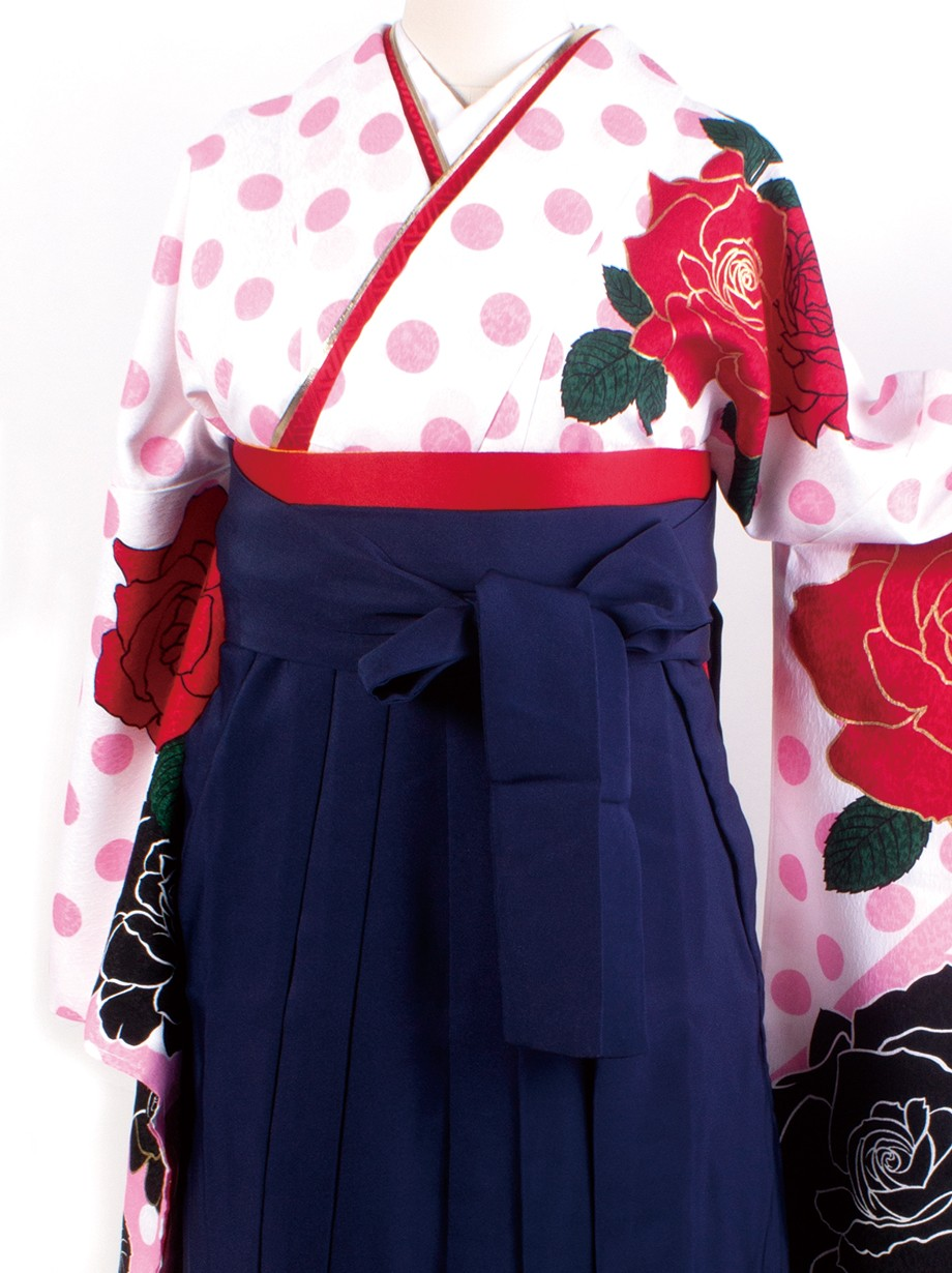 白色地に薔薇と水玉・紺袴(二尺袖)/卒業式