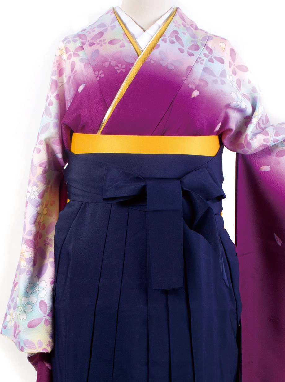 紫色地に蝶と桜・紺袴(二尺袖)/卒業式