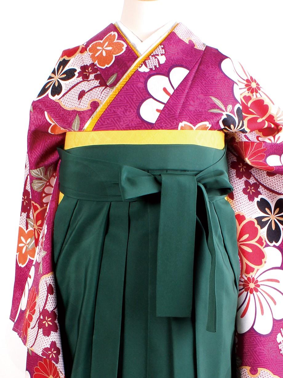 赤紫地に桜と雪輪・緑袴(二尺袖)/卒業式