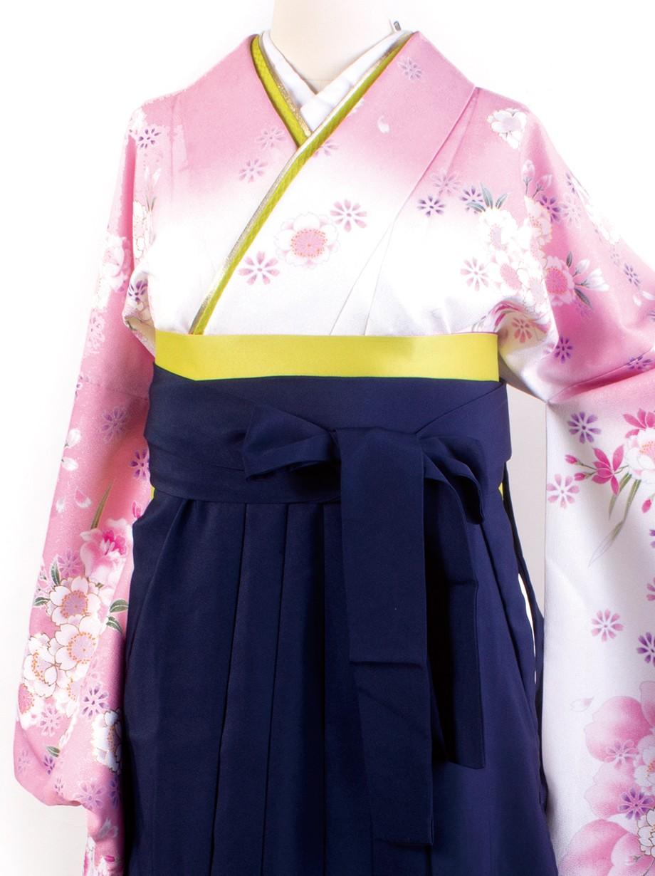 白色地に桜・紺袴(二尺袖)/卒業式