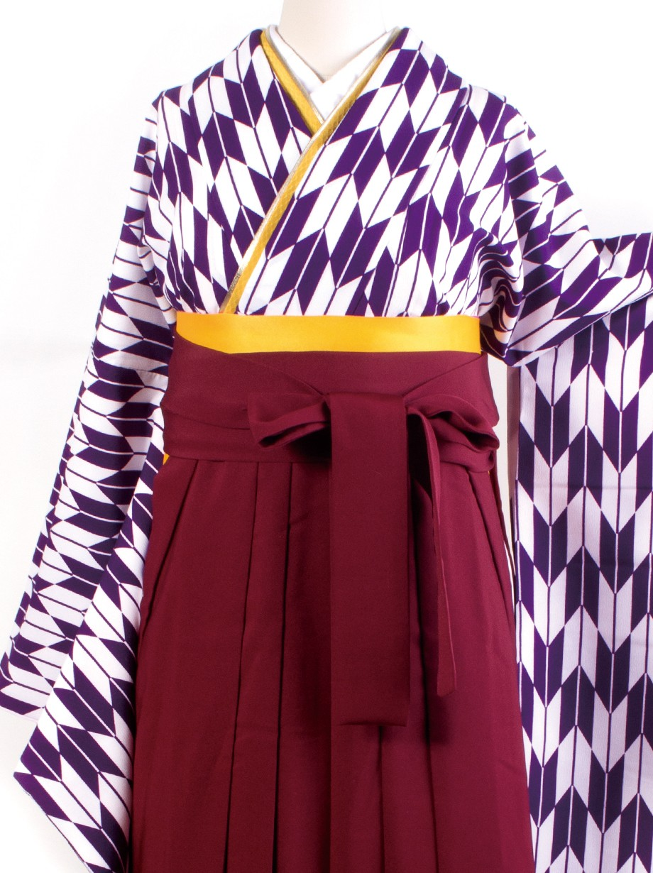紫色地に矢絣・臙脂袴(二尺袖)/卒業式