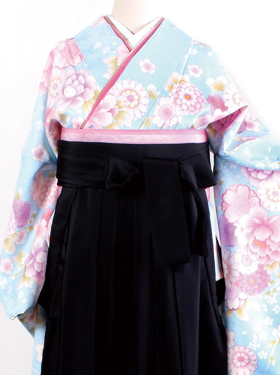水色地に花尽くし・黒袴(二尺袖)/卒業式