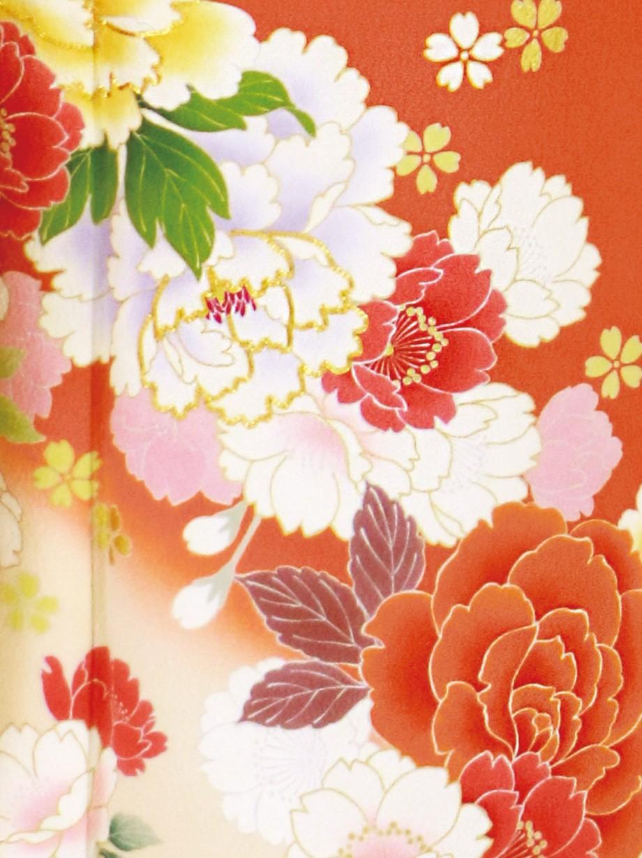 渋橙色に牡丹と桜の振袖/標準サイズ