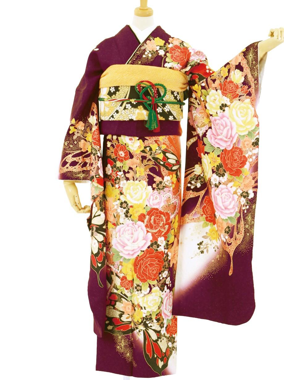 小豆色と白地に蝶と薔薇の振袖/トールサイズ