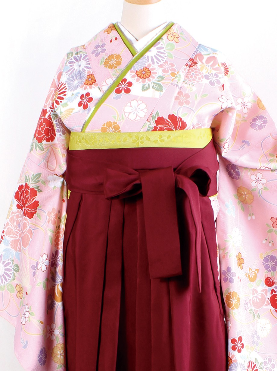 ピンク地に花扇・臙脂袴(二尺袖)/卒業式