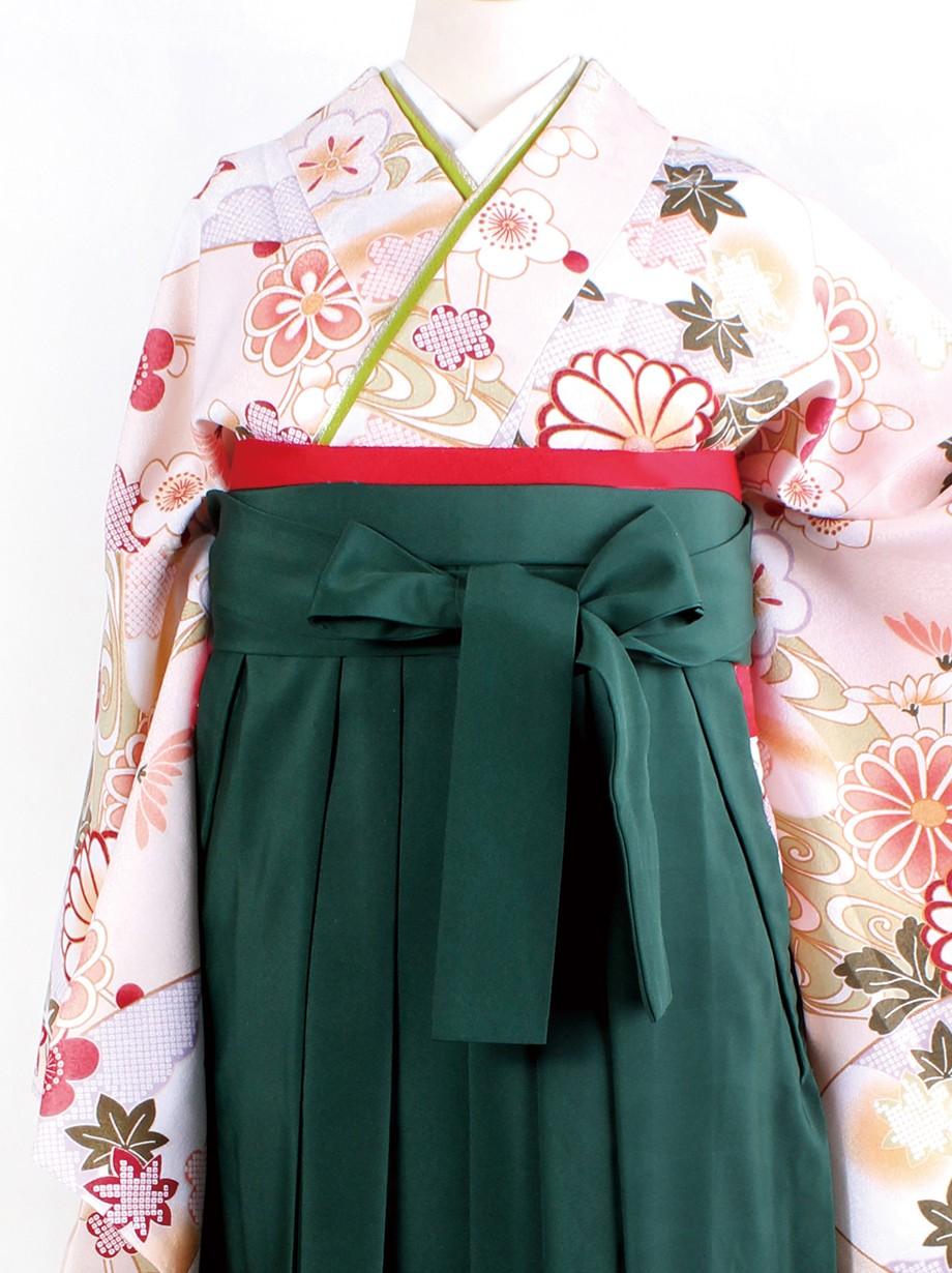 ベージュ地に地紙に菊・緑袴(二尺袖)/卒業式