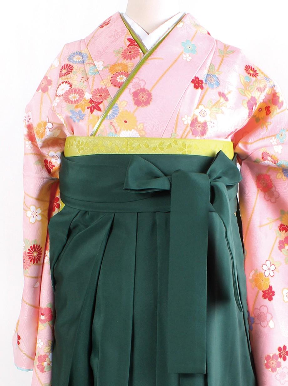 ピンク地に枝垂桜・緑袴(二尺袖)/卒業式