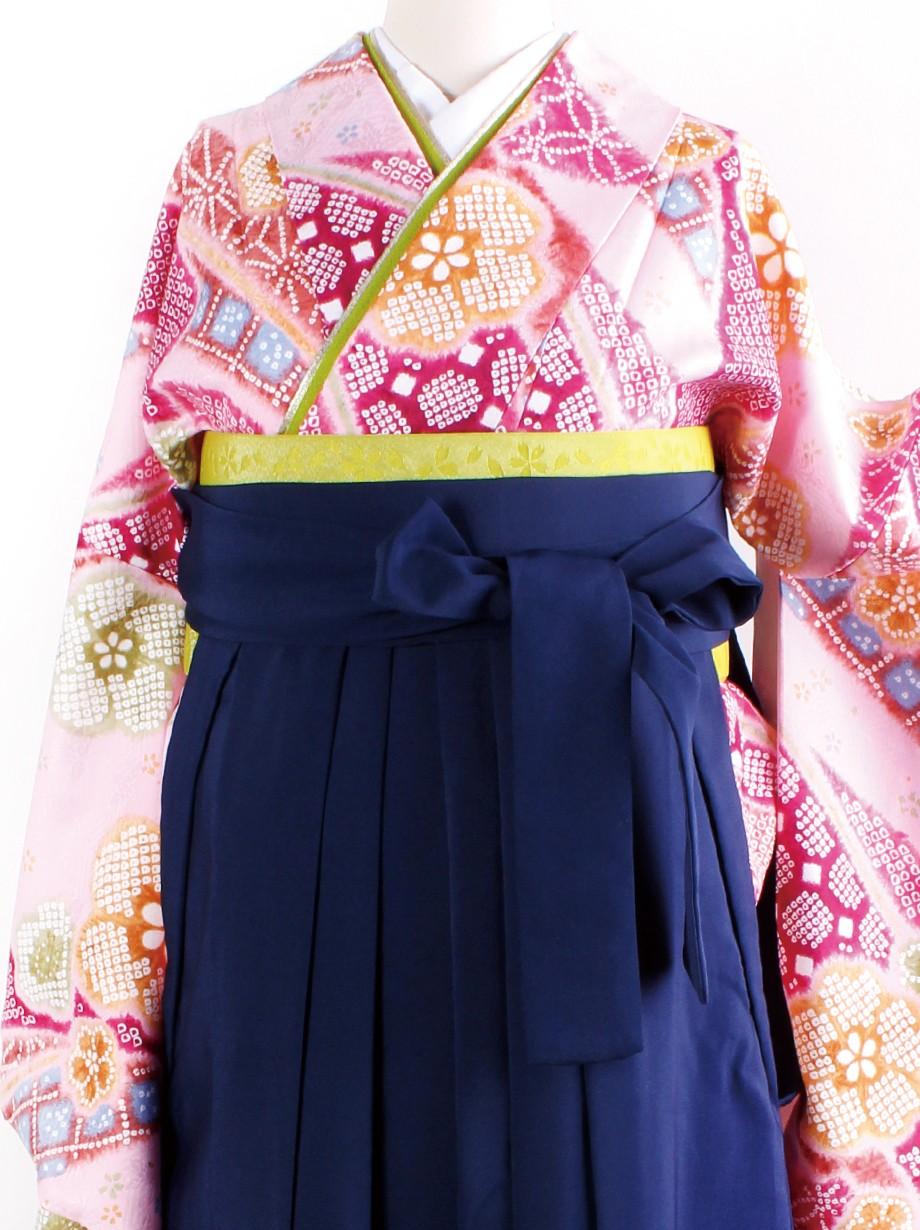 ピンク地に染め疋田と花・紺袴(二尺袖)/卒業式
