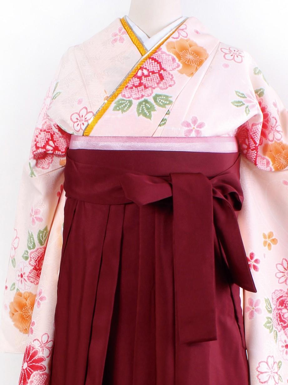 淡ピンクに染め疋田と花・臙脂袴(二尺袖)/卒業式