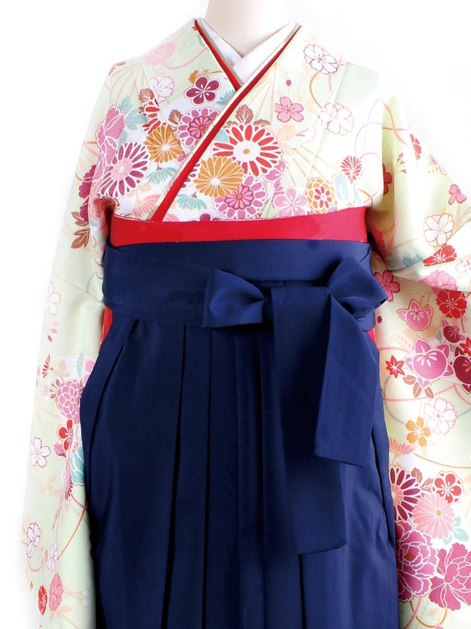鶸色地に花扇・紺袴(二尺袖)/卒業式