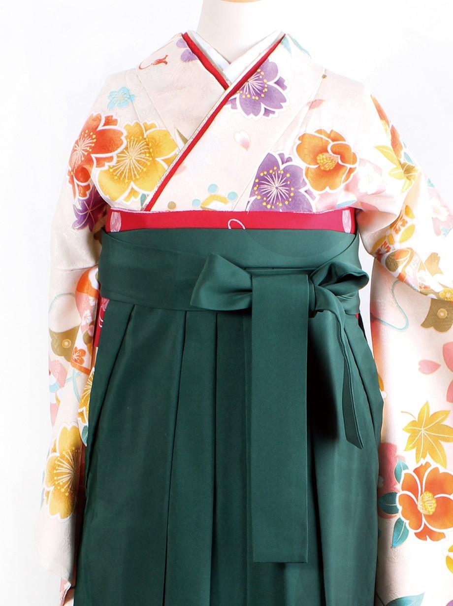 クリーム地に桜と宝尽くし・緑袴(二尺袖)/卒業式