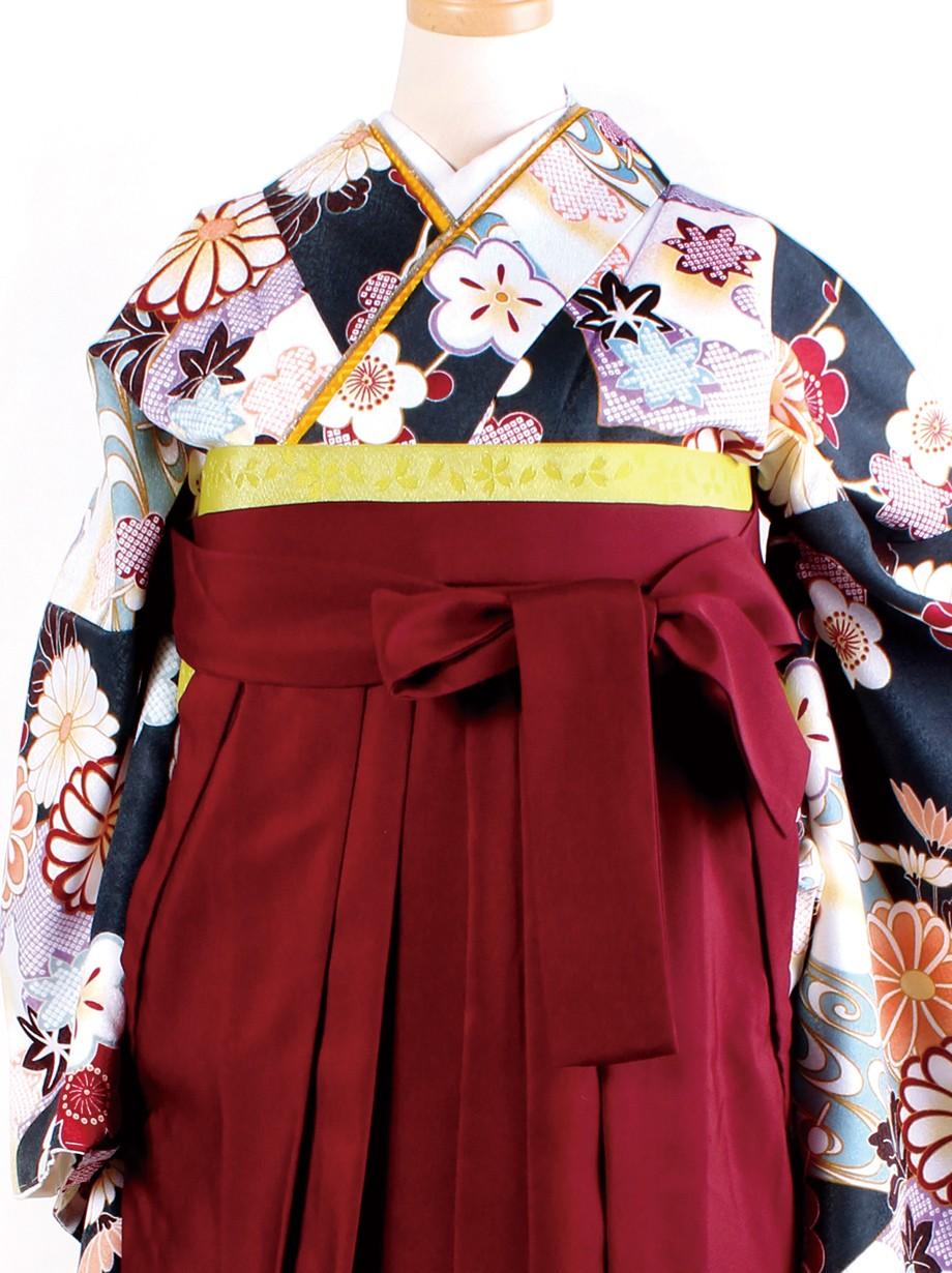 深緑地に地紙と菊・臙脂袴(二尺袖)/卒業式