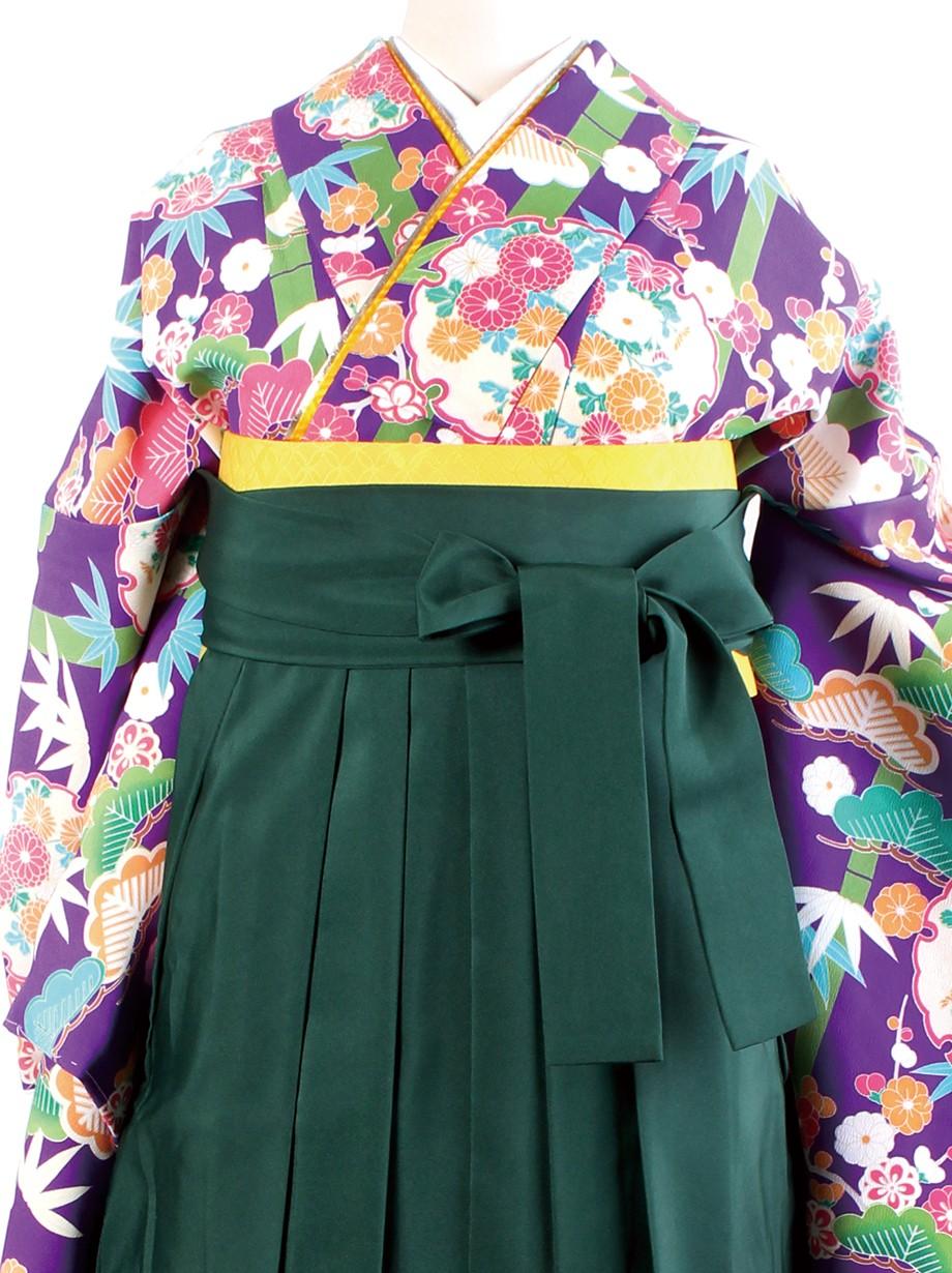 紫色地に松竹梅・緑袴(二尺袖)/卒業式