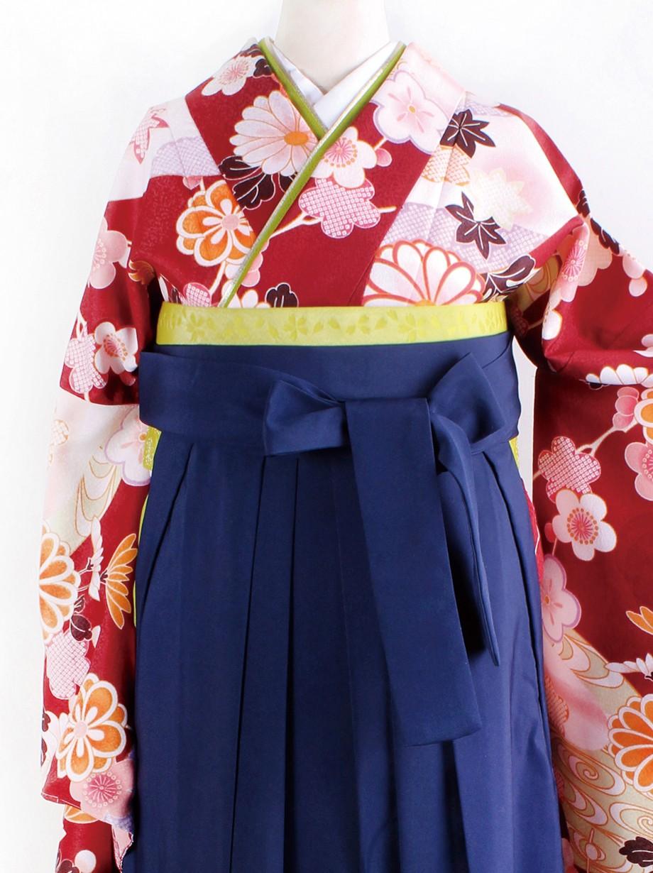 赤茶地に地紙と菊・紺袴(二尺袖)/卒業式