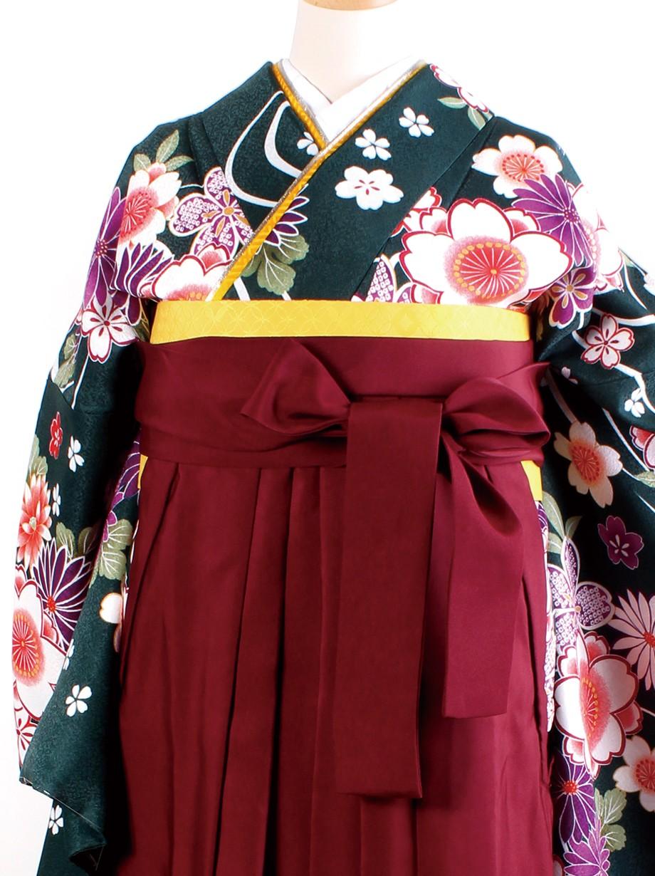 深緑地に流水と花・臙脂袴(二尺袖)/卒業式