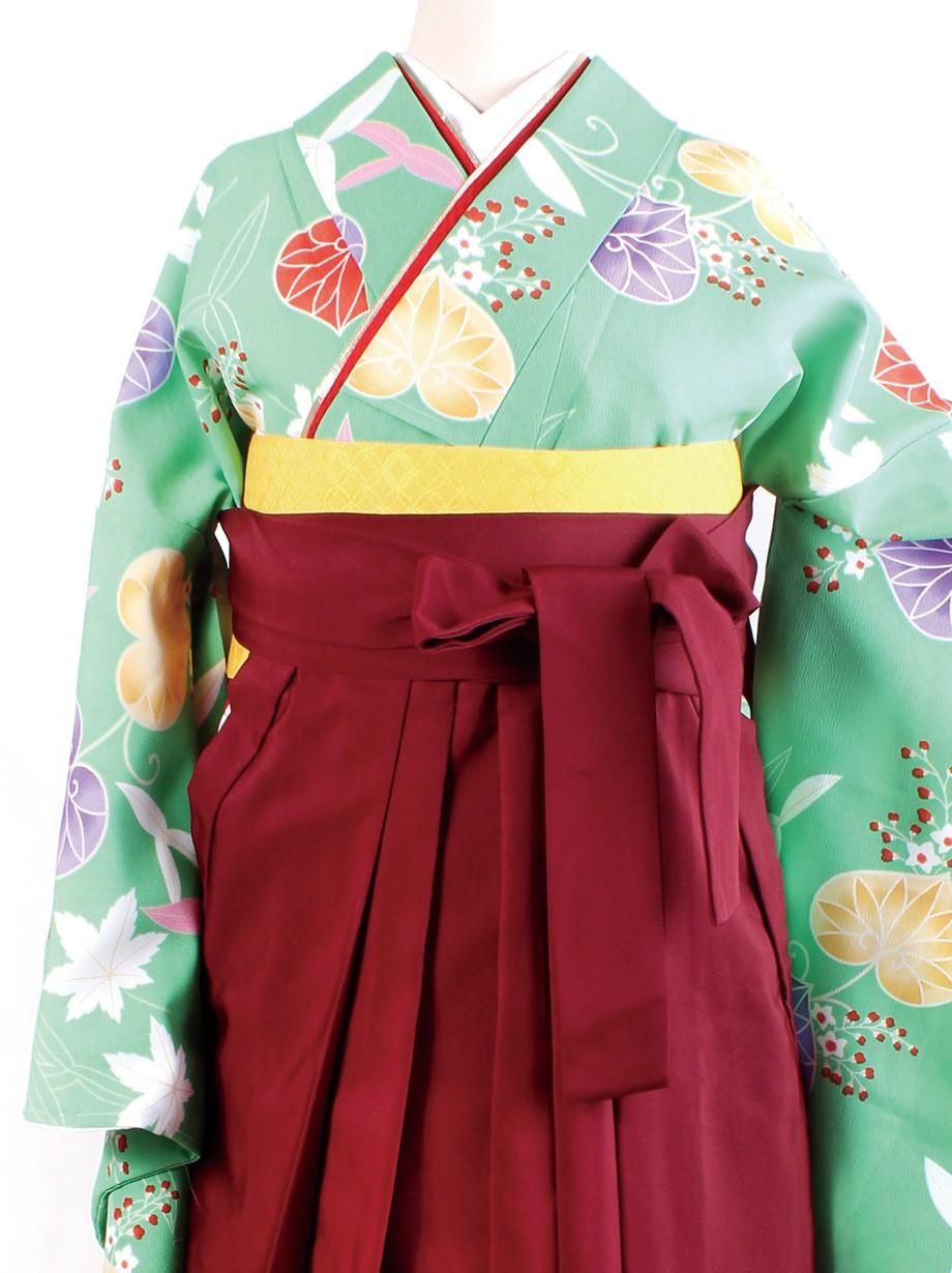 鶸色地に葵・臙脂袴(二尺袖)/卒業式