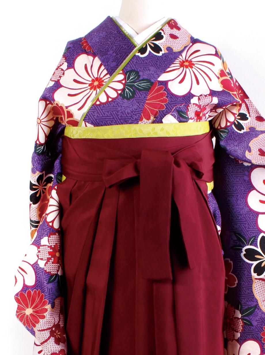 紫地に桜と雪輪・臙脂袴(二尺袖)/卒業式