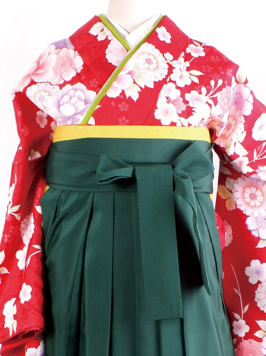 赤地に花尽くし・緑袴(二尺袖)/卒業式