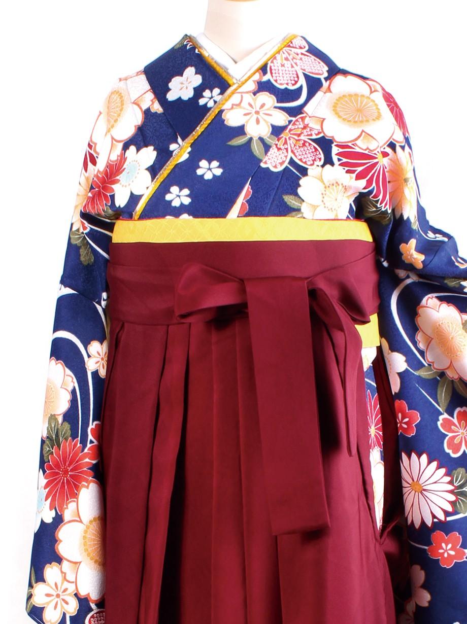 青地に流水と花・臙脂袴(二尺袖)/卒業式