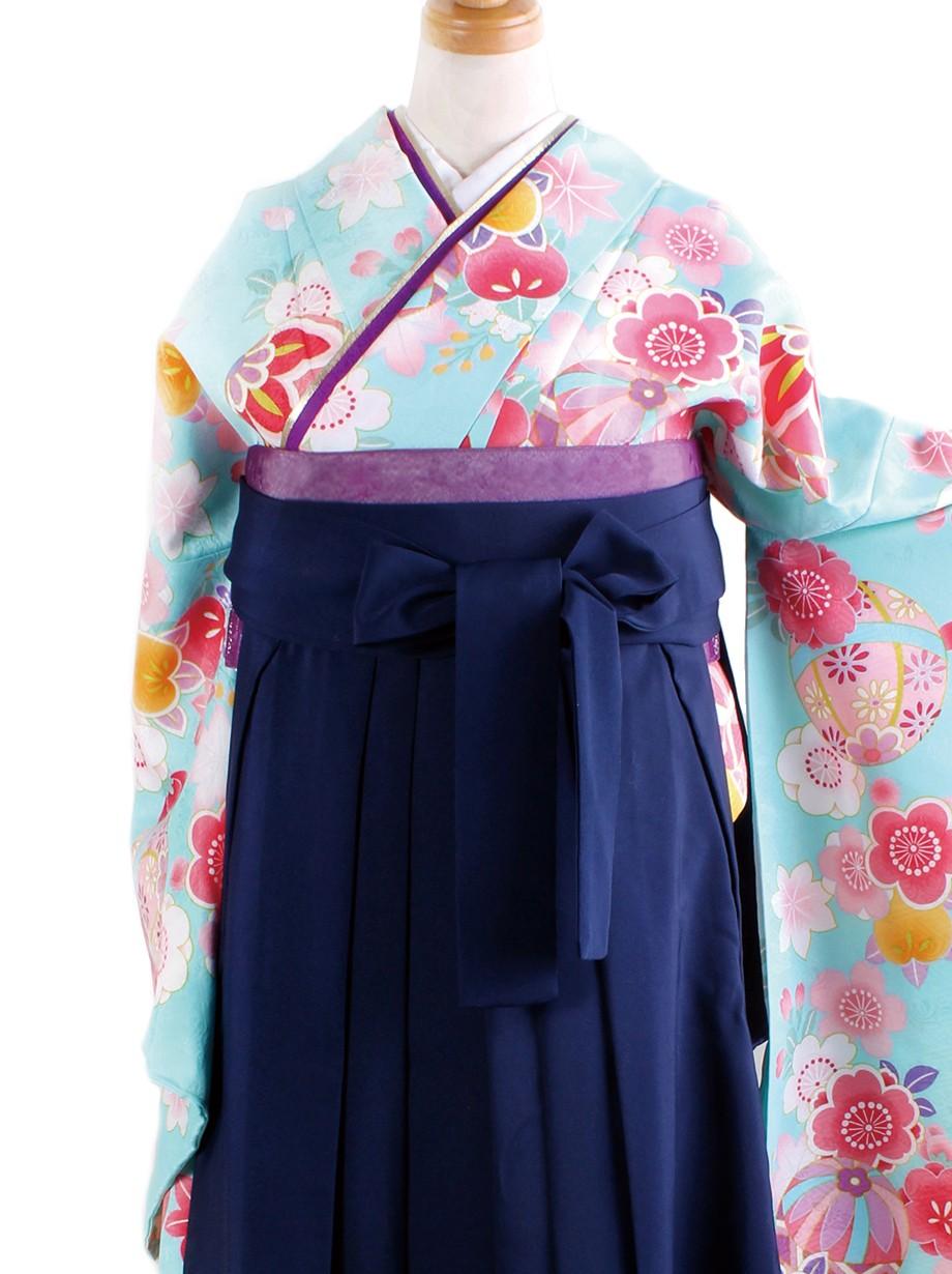 水色地に鞠と桜・紺袴(二尺袖)/卒業式