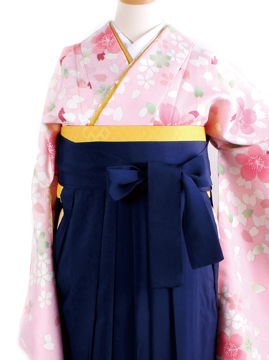 ピンク地に桜吹雪・紺袴(二尺袖)/卒業式