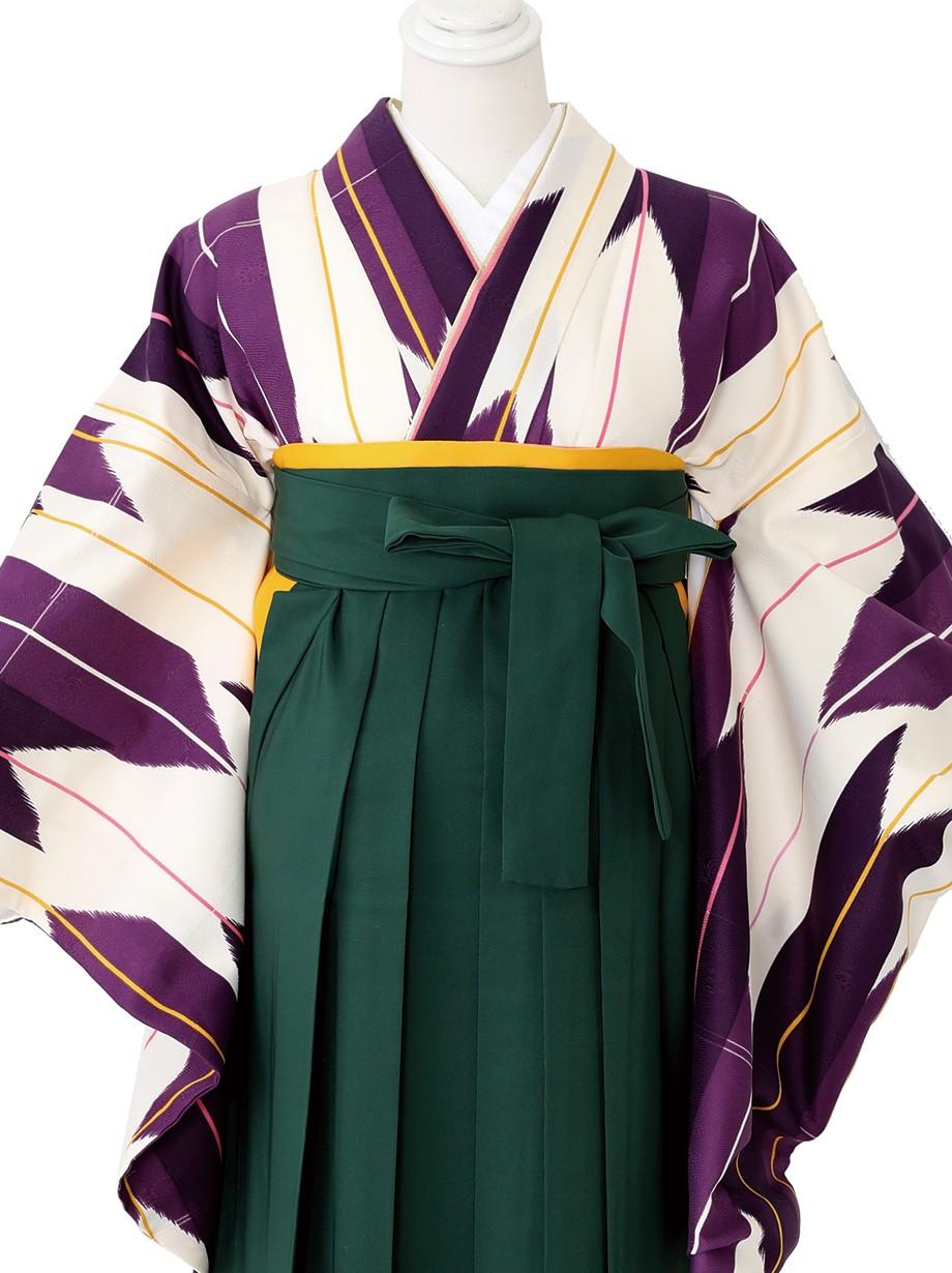 アイボリー地に紫の矢絣・緑袴(二尺袖)/卒業式