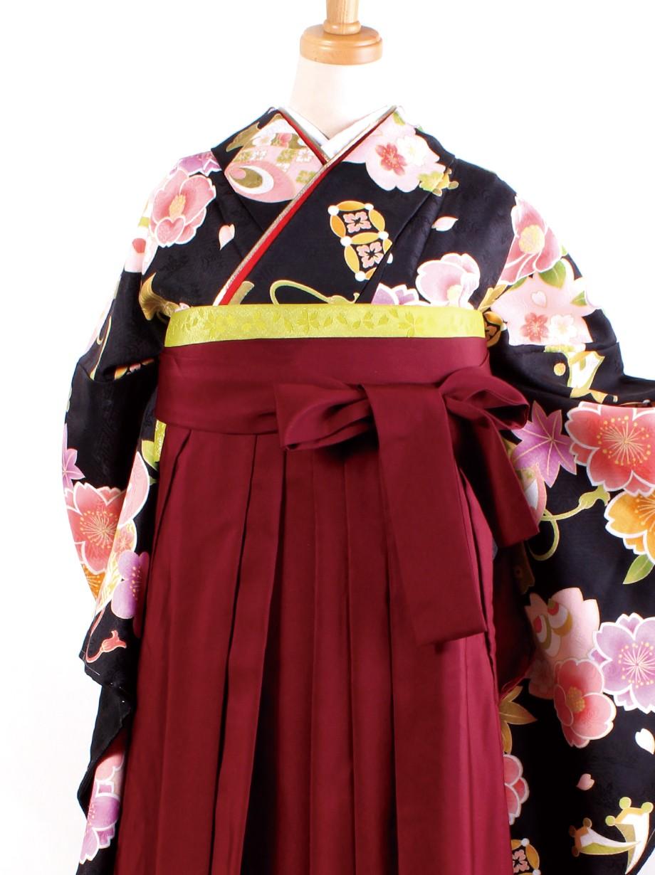 黒地に桜と宝尽くし・臙脂袴(二尺袖)/卒業式
