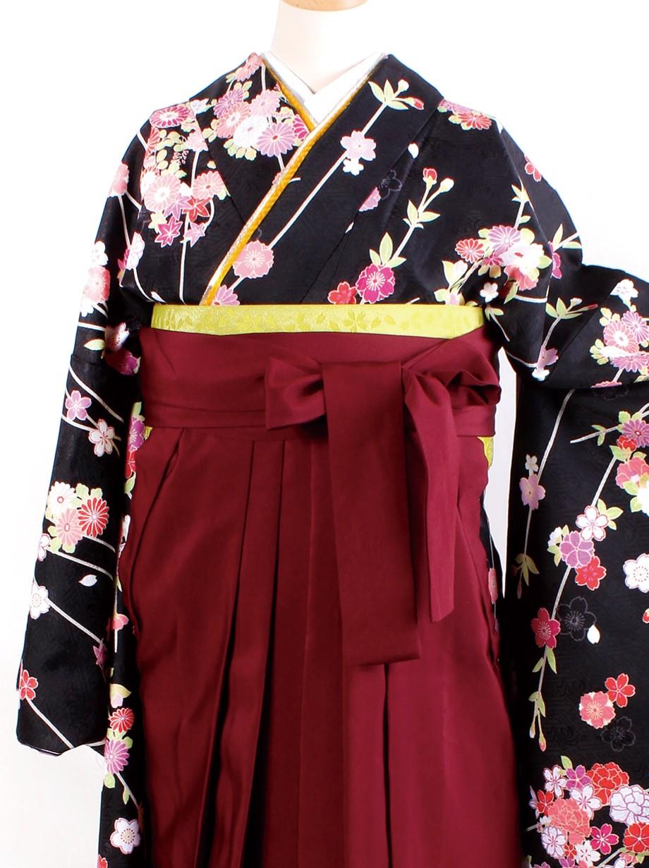 黒地に枝垂桜・臙脂袴(二尺袖)/卒業式