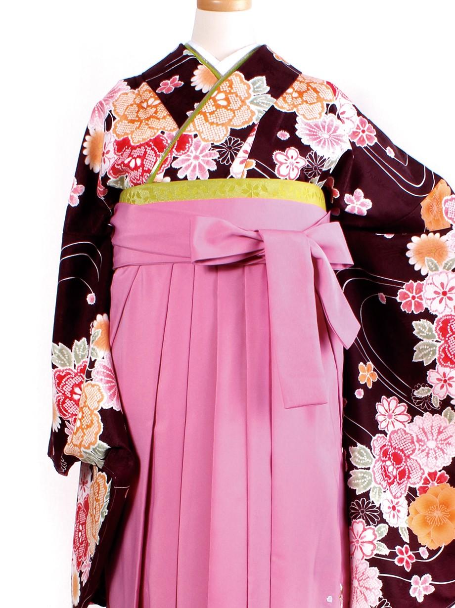 茶色に疋田柄の花・ピンク袴(二尺袖)/卒業式