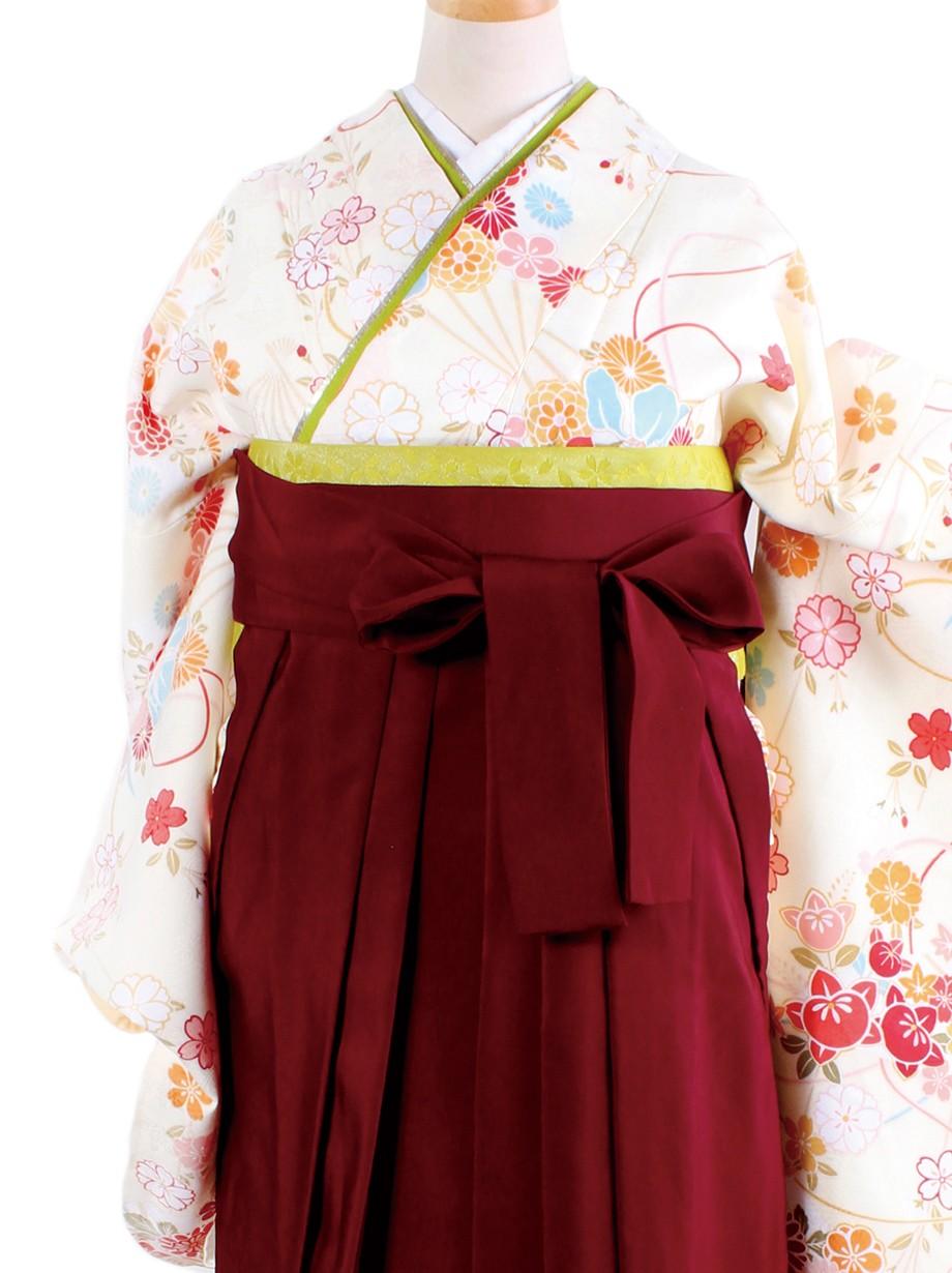 クリーム地に花扇・臙脂袴(二尺袖)/卒業式