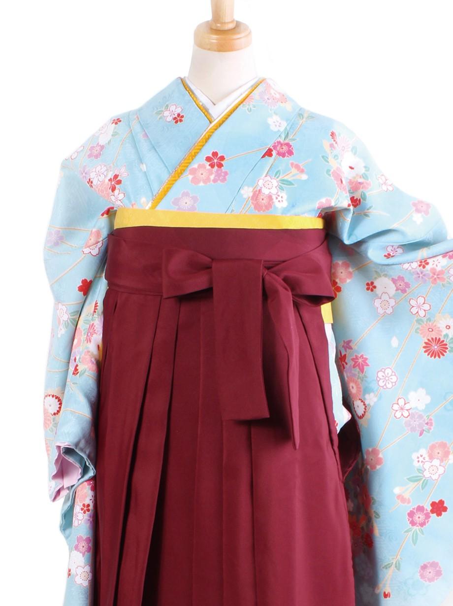 水色地に枝垂桜・臙脂袴(二尺袖)/卒業式