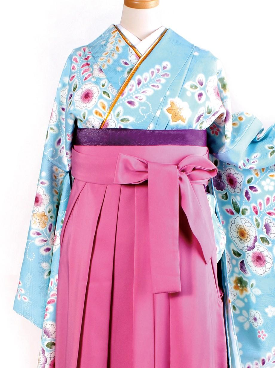 水色地に辻が花風・ピンク袴(二尺袖)/卒業式