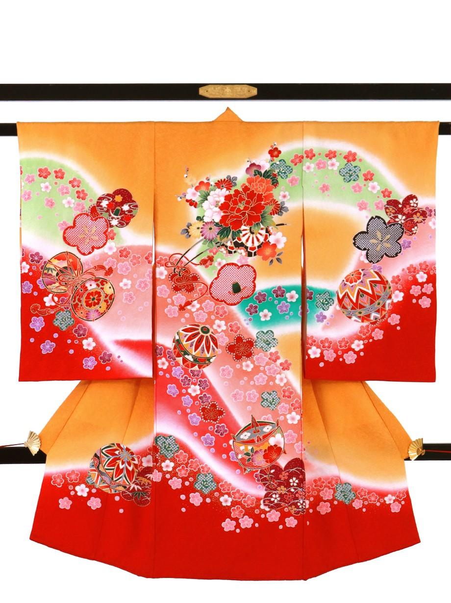 金茶色に桜と山取りの祝い着(産着)/女児