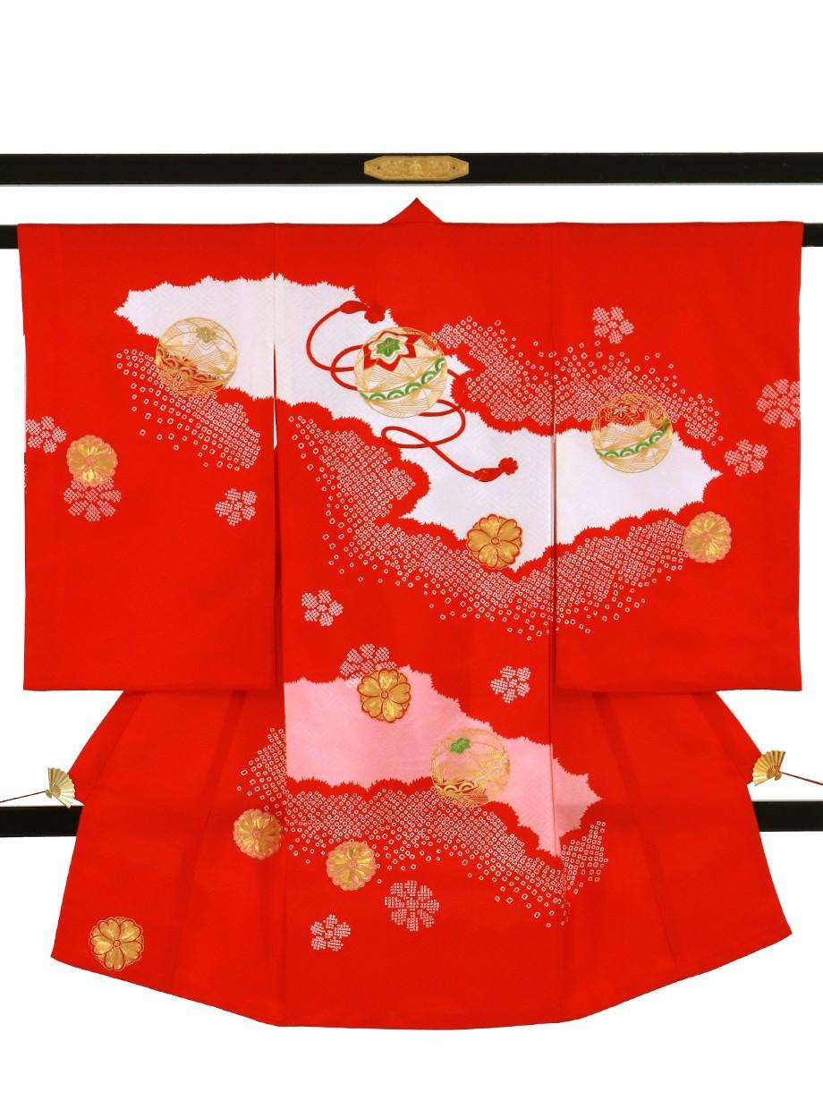 赤地に染疋田、金糸の桜と鞠の祝い着(産着)/女児