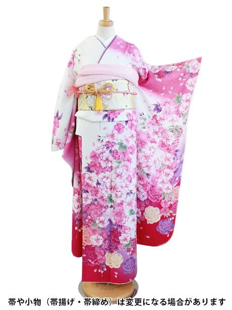 ピンク地に枝垂れ桜の振袖/小さめサイズ