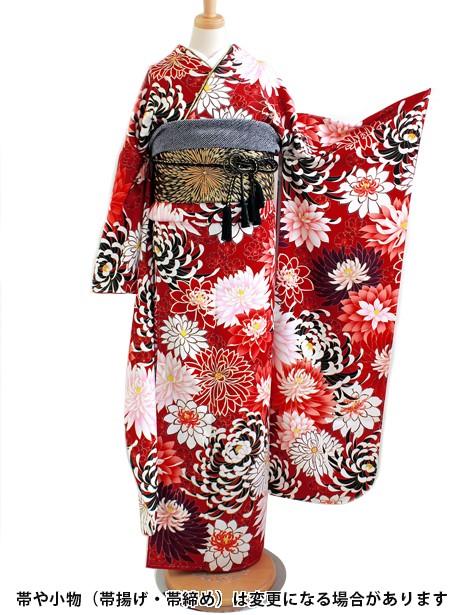 濃い赤に乱菊の振袖/標準サイズ