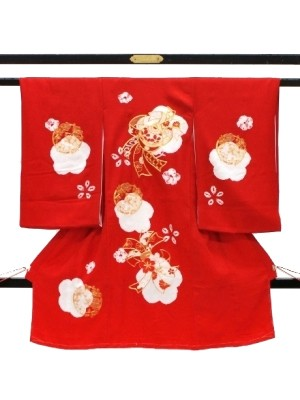 赤地に花、絞り染めの祝い着(産着)/女児