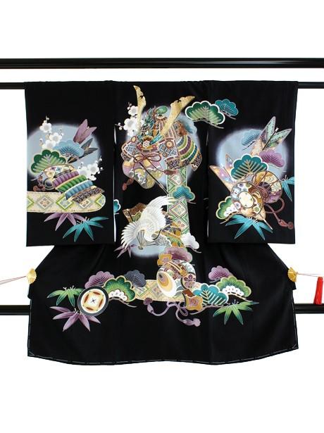 黒地に兜と鶴の祝い着(産着)/男児