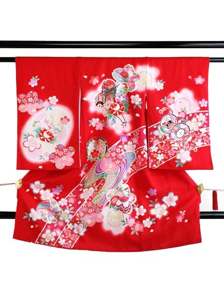 赤色地に桜と御所車の祝い着(産着)/女児
