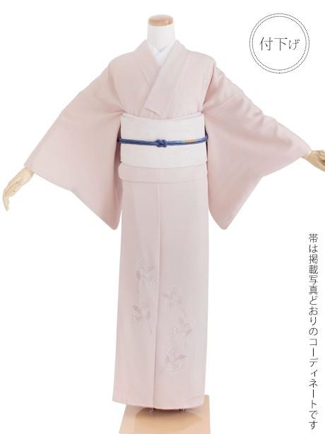 ピンクグレー色地に刺繍の洋花文様の付下(袷)