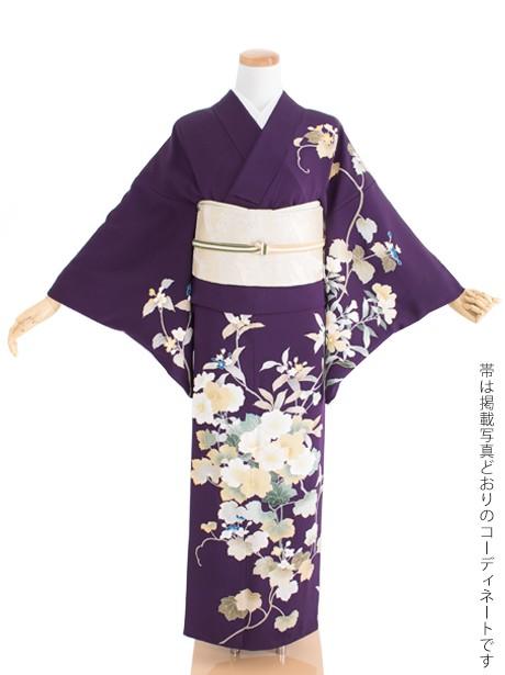 濃紫色地に草木文様の訪問着(袷)